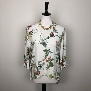 Zara 3/4 Sleeve Floral Blouse Size Small